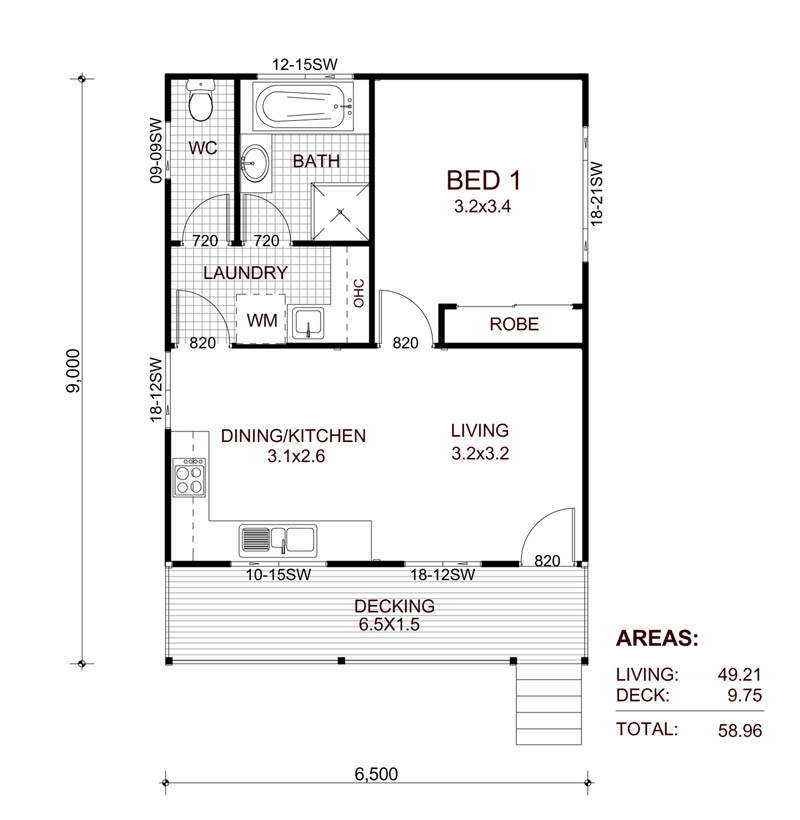 Granny flats prefabricated and transportable granny flats for One bedroom flat floor plan